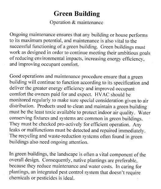 Green building info.